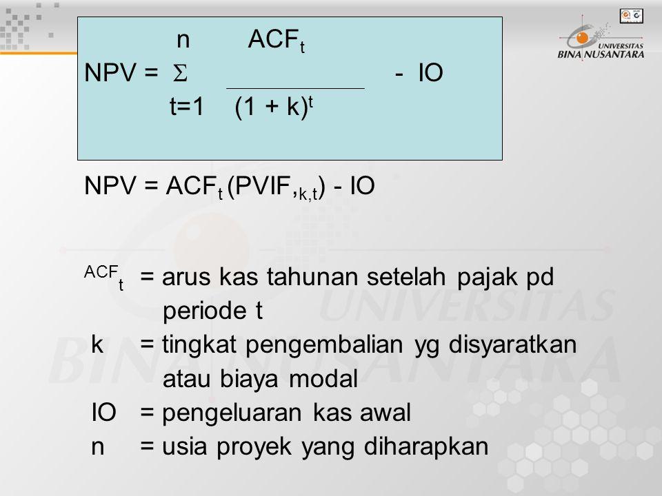 n ACF t NPV =  - IO t=1 (1 + k) t NPV = ACF t (PVIF, k,t ) - IO ACF t = arus kas tahunan setelah pajak pd periode t k= tingkat pengembalian yg disyar