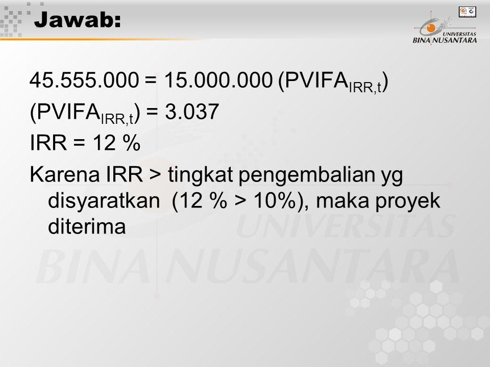 Jawab: 45.555.000 = 15.000.000 (PVIFA IRR,t ) (PVIFA IRR,t ) = 3.037 IRR = 12 % Karena IRR > tingkat pengembalian yg disyaratkan (12 % > 10%), maka pr
