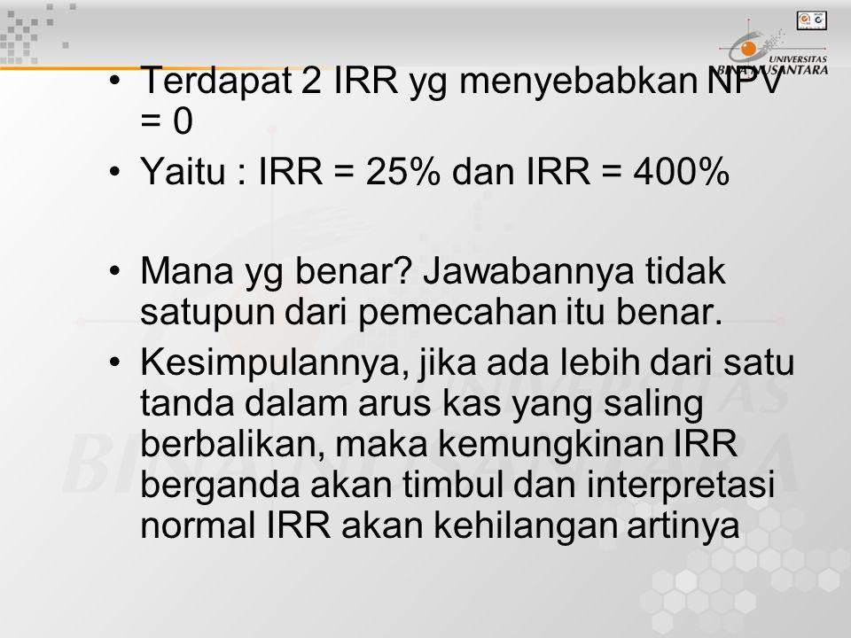 Terdapat 2 IRR yg menyebabkan NPV = 0 Yaitu : IRR = 25% dan IRR = 400% Mana yg benar? Jawabannya tidak satupun dari pemecahan itu benar. Kesimpulannya