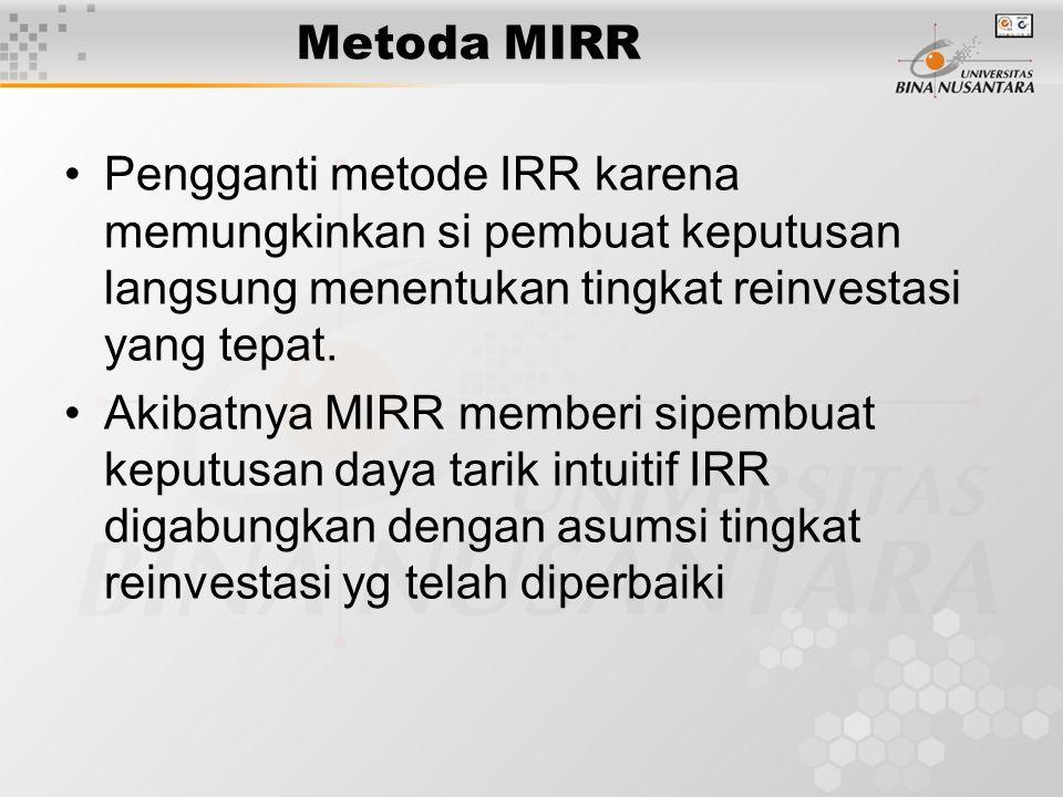 Metoda MIRR Pengganti metode IRR karena memungkinkan si pembuat keputusan langsung menentukan tingkat reinvestasi yang tepat. Akibatnya MIRR memberi s