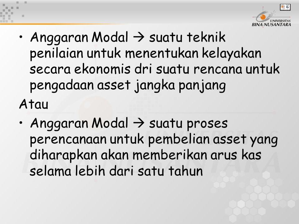 Anggaran Modal  suatu teknik penilaian untuk menentukan kelayakan secara ekonomis dri suatu rencana untuk pengadaan asset jangka panjang Atau Anggara