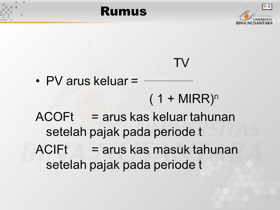 Rumus TV PV arus keluar = ( 1 + MIRR) n ACOFt= arus kas keluar tahunan setelah pajak pada periode t ACIFt= arus kas masuk tahunan setelah pajak pada p