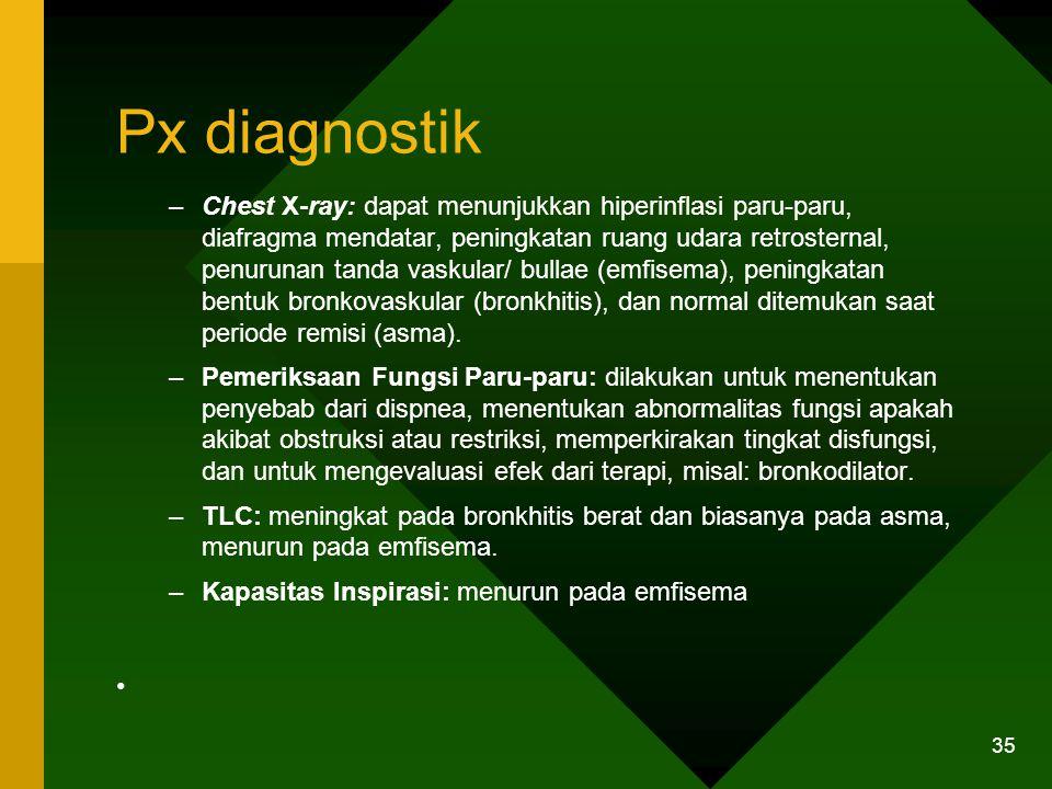 Px diagnostik –Chest X-ray: dapat menunjukkan hiperinflasi paru-paru, diafragma mendatar, peningkatan ruang udara retrosternal, penurunan tanda vaskul