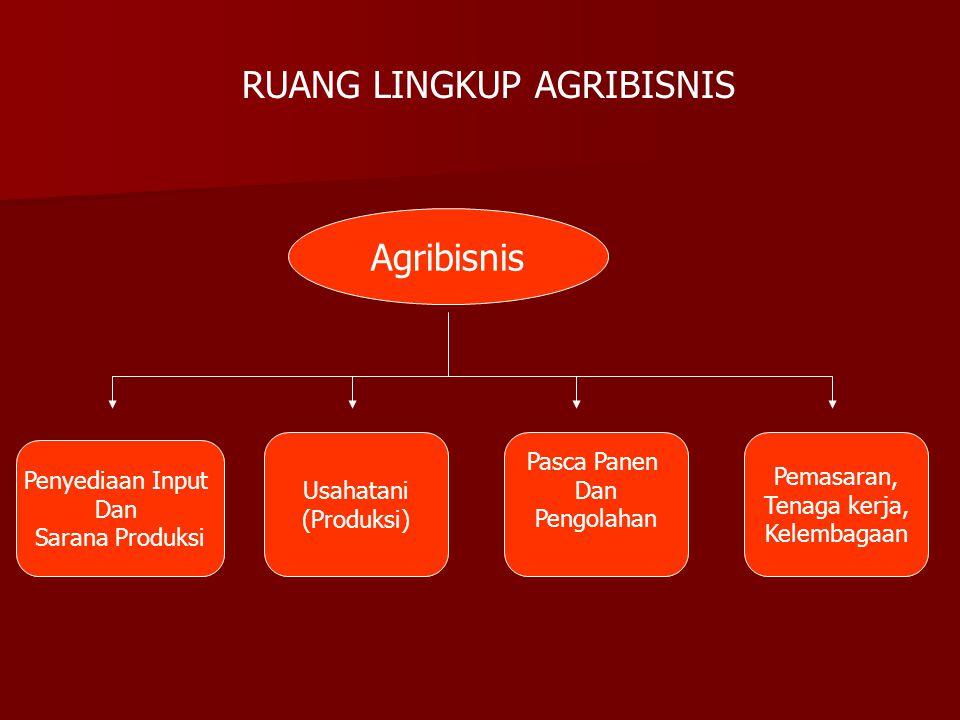 RUANG LINGKUP AGRIBISNIS Agribisnis Penyediaan Input Dan Sarana Produksi Usahatani (Produksi) Pasca Panen Dan Pengolahan Pemasaran, Tenaga kerja, Kele