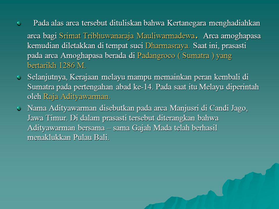 Berita pertama kali yang menerangkan keberadaan Kerajaan Melayu di Sumatra, yaitu dari Dinasti Tang. Menurut catatan Dinasti Tang, utusan Negri Mo – L