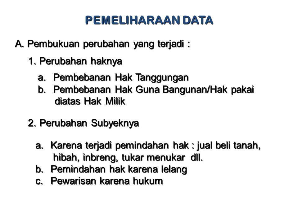 PEMELIHARAAN DATA A.