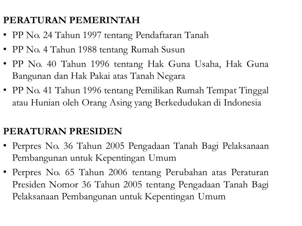 PERATURAN PEMERINTAH PP No.24 Tahun 1997 tentang Pendaftaran Tanah PP No.