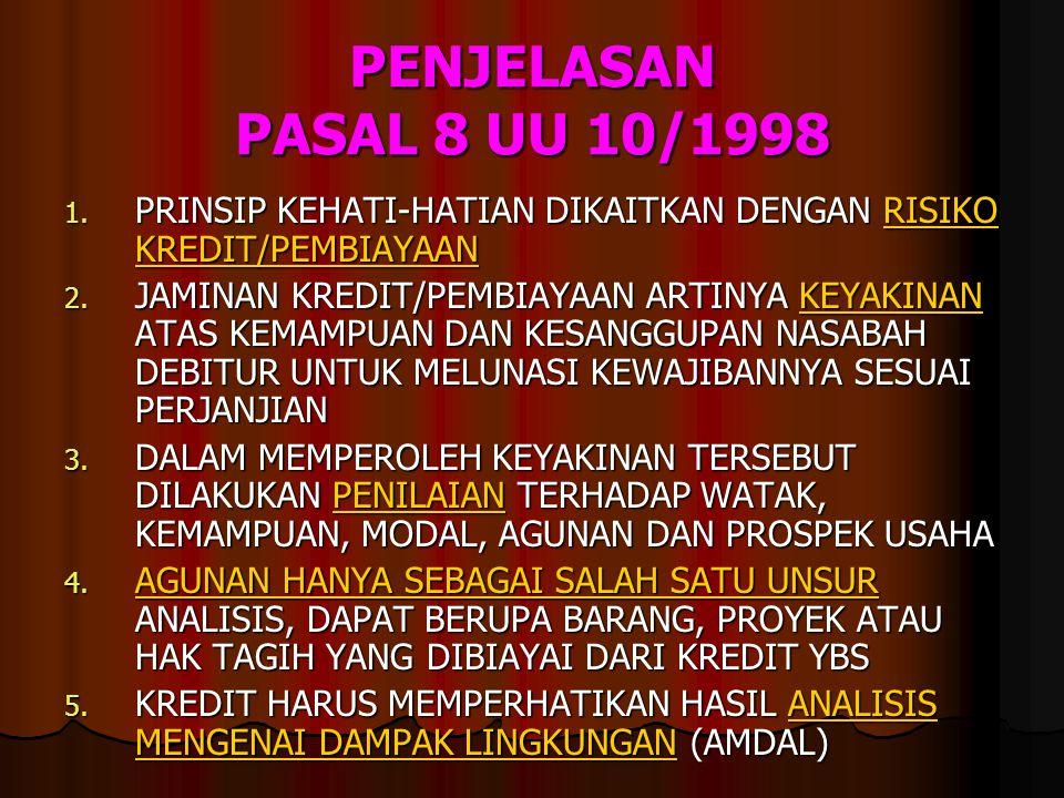PENJELASAN PASAL 8 UU 10/1998 1. PRINSIP KEHATI-HATIAN DIKAITKAN DENGAN RISIKO KREDIT/PEMBIAYAAN 2. JAMINAN KREDIT/PEMBIAYAAN ARTINYA KEYAKINAN ATAS K