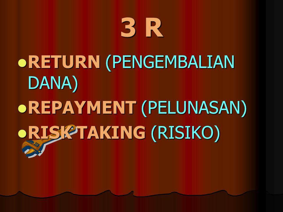 3 R RETURN (PENGEMBALIAN DANA) RETURN (PENGEMBALIAN DANA) REPAYMENT (PELUNASAN) REPAYMENT (PELUNASAN) RISK TAKING (RISIKO) RISK TAKING (RISIKO)