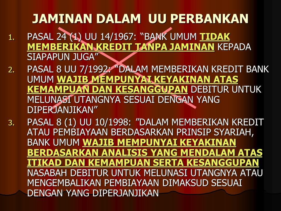 JAMINAN DALAM UU PERBANKAN 1.