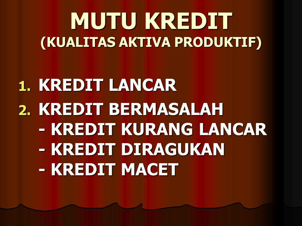 MUTU KREDIT (KUALITAS AKTIVA PRODUKTIF) 1. KREDIT LANCAR 2. KREDIT BERMASALAH - KREDIT KURANG LANCAR - KREDIT DIRAGUKAN - KREDIT MACET