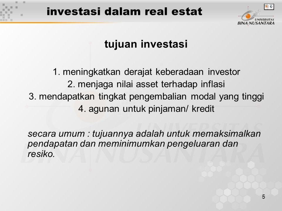 5 investasi dalam real estat tujuan investasi 1. meningkatkan derajat keberadaan investor 2.