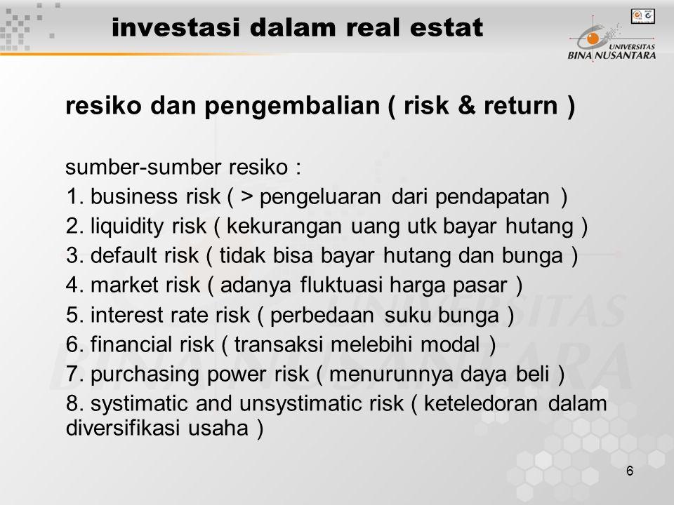 6 investasi dalam real estat resiko dan pengembalian ( risk & return ) sumber-sumber resiko : 1.