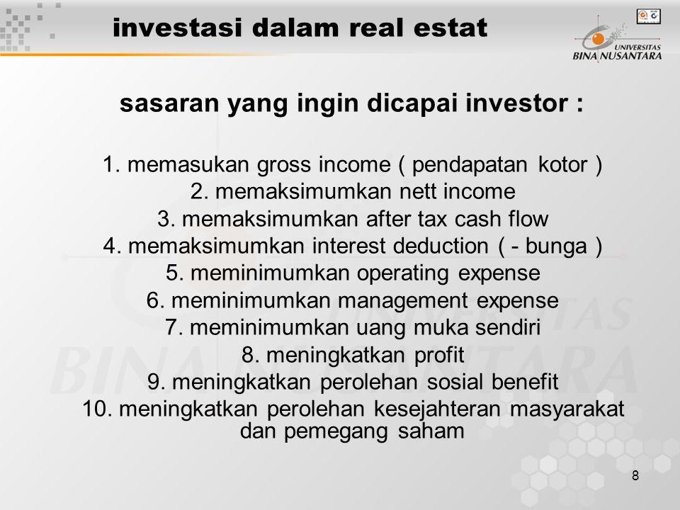 8 investasi dalam real estat sasaran yang ingin dicapai investor : 1.