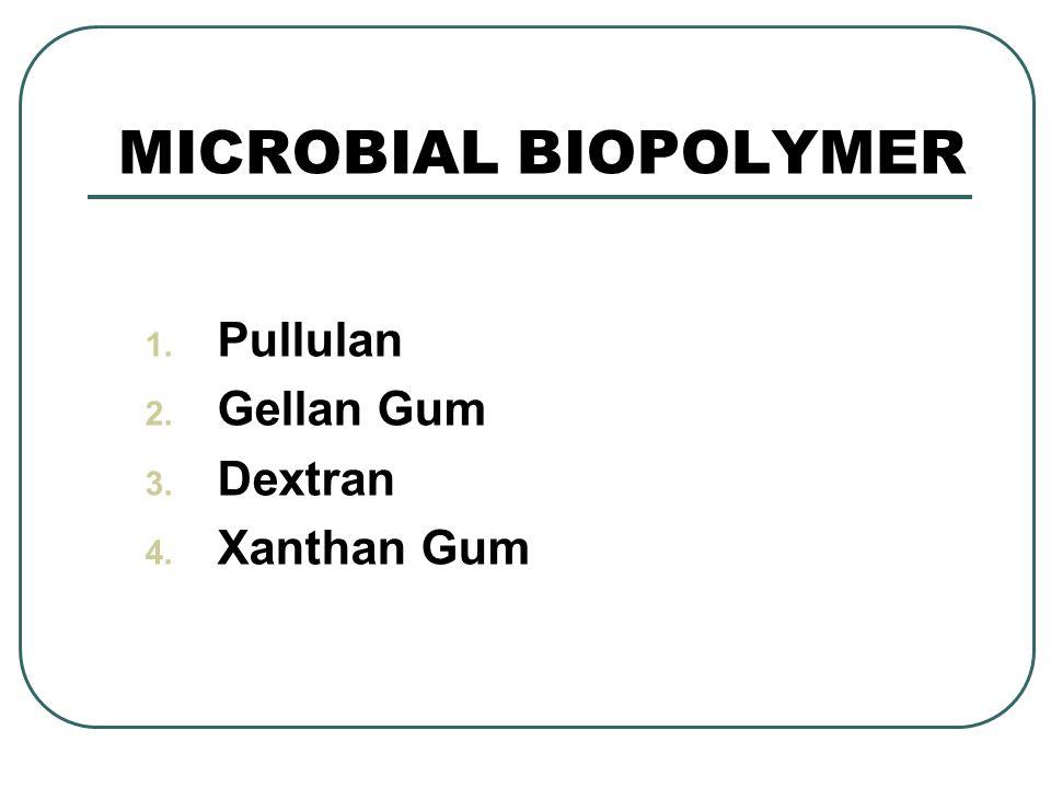 MICROBIAL BIOPOLYMER 1. Pullulan 2. Gellan Gum 3. Dextran 4. Xanthan Gum