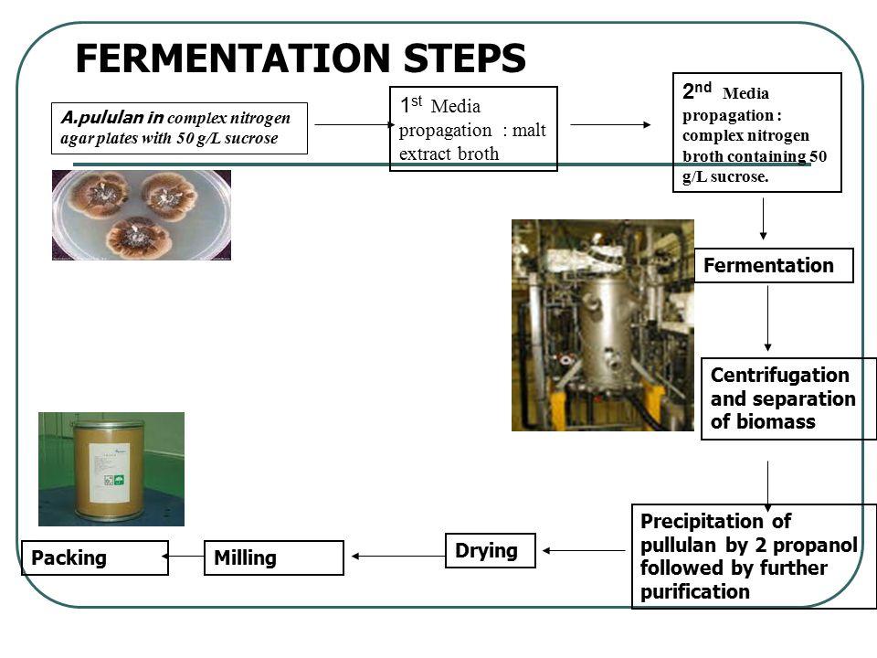 FERMENTATION STEPS A.pululan in complex nitrogen agar plates with 50 g/L sucrose 1 st Media propagation : malt extract broth 2 nd Media propagation :