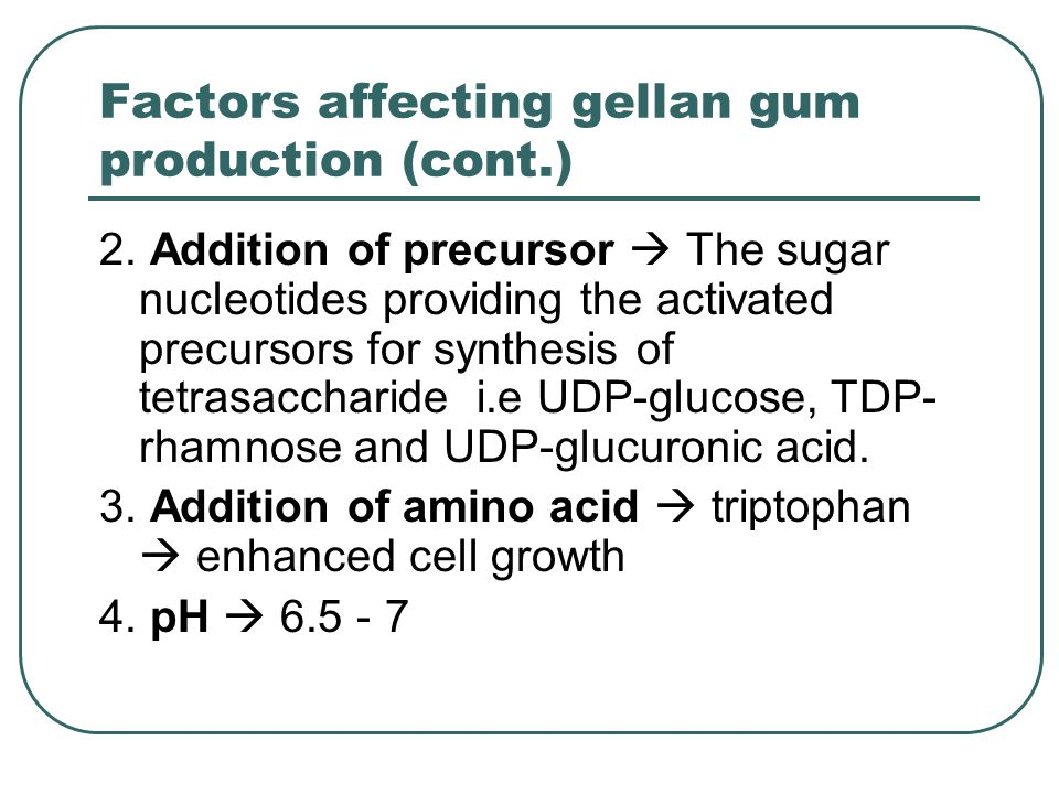 Factors affecting gellan gum production (cont.) 2. Addition of precursor  The sugar nucleotides providing the activated precursors for synthesis of t
