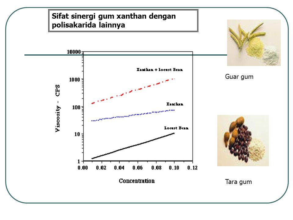 Guar gum Tara gum Sifat sinergi gum xanthan dengan polisakarida lainnya