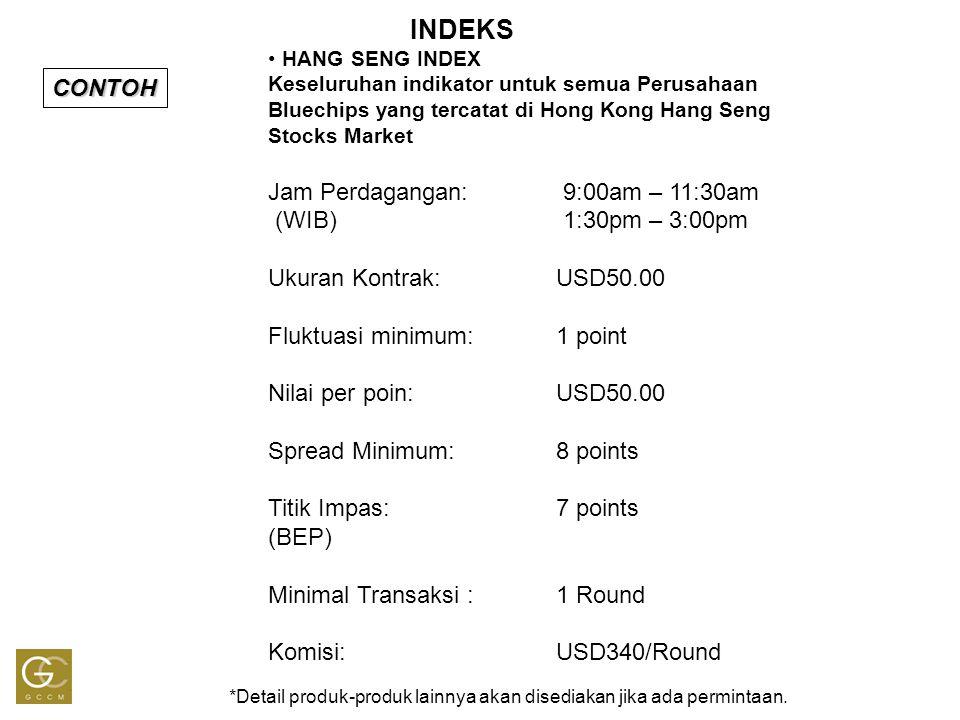 INDEKS Perhitungan Laba - Rugi {(Jual – Beli) x USD50 – USD340} x Jumlah Round Contoh 1 : Hang Seng Indeks Buy New (BN): 18100 1R Sell Close (SC): 18150 1R {(50pts x USD50) – USD340} x 1R = USD2,160 Example 2: Hang Seng Indeks Sell New (SN): 18100 1R Buy Close (BC): 18050 1R {(50pt x USD50) – USD340} x 1R =USD2,160 BN 1R At 18100 SC 1R At 18150 Profit 50 pt SN 1R di 18100 BC 1R di 18050 Profit 50 Pt Pasar dua arah: Menggandakan kesempatan untuk mendapatkan keuntungan !!!