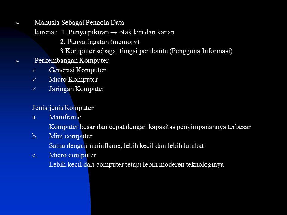  Manusia Sebagai Pengola Data karena : 1. Punya pikiran → otak kiri dan kanan 2. Punya Ingatan (memory) 3.Komputer sebagai fungsi pembantu (Pengguna