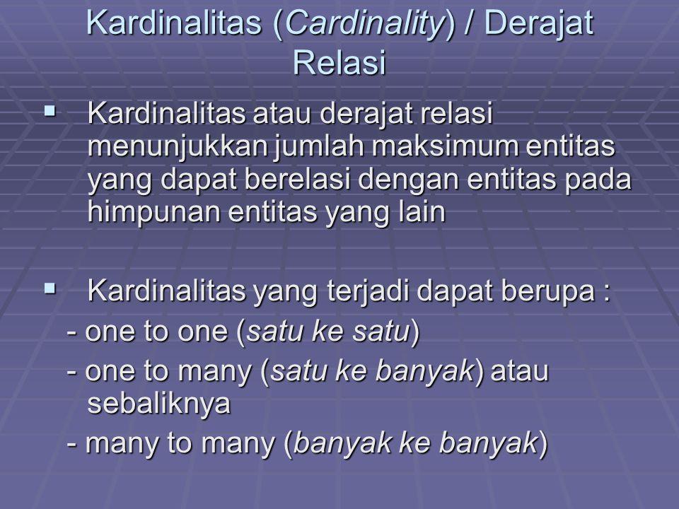 Kardinalitas (Cardinality) / Derajat Relasi  Kardinalitas atau derajat relasi menunjukkan jumlah maksimum entitas yang dapat berelasi dengan entitas