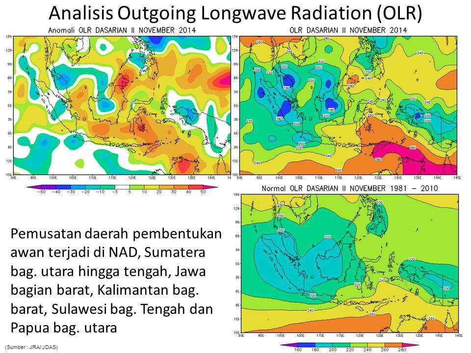 Analisis Outgoing Longwave Radiation (OLR) Pemusatan daerah pembentukan awan terjadi di NAD, Sumatera bag. utara hingga tengah, Jawa bagian barat, Kal