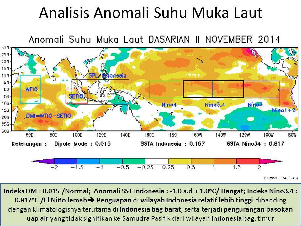 Analisis Anomali Suhu Muka Laut Indeks DM : 0.015 /Normal; Anomali SST Indonesia : -1.0 s.d + 1.0 o C/ Hangat; Indeks Nino3.4 : 0.817 o C /El Niño lem