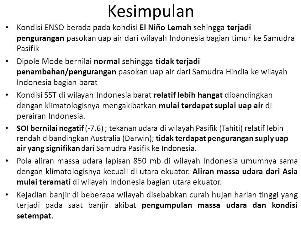 Kesimpulan Kondisi ENSO berada pada kondisi El Niño Lemah sehingga terjadi pengurangan pasokan uap air dari wilayah Indonesia bagian timur ke Samudra