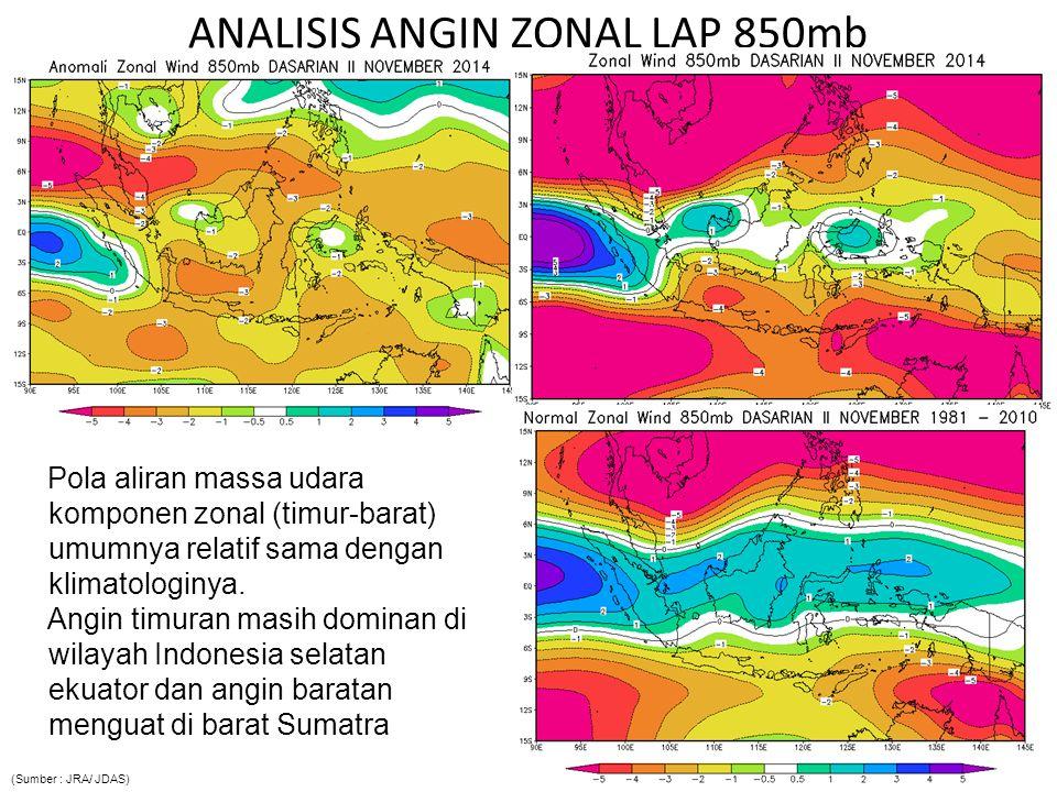 ANALISIS ANGIN ZONAL LAP 850mb Pola aliran massa udara komponen zonal (timur-barat) umumnya relatif sama dengan klimatologinya. Angin timuran masih do