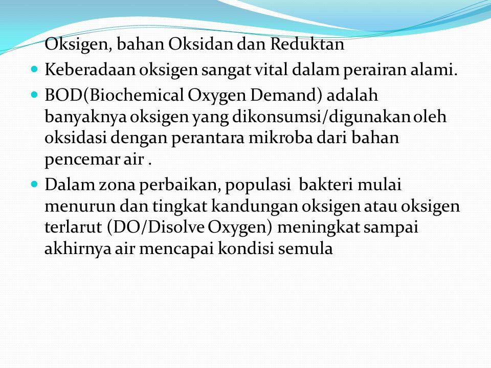 Oksigen, bahan Oksidan dan Reduktan Keberadaan oksigen sangat vital dalam perairan alami.