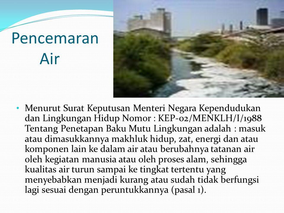 Pasal 2 membahas air pada sumber air menurut kegunaan/peruntukkannya digolongkan menjadi: - Gol.A: air yg dapat digunakan sbg air minum secara langsung tanpa pengolahan terlebih dahulu.
