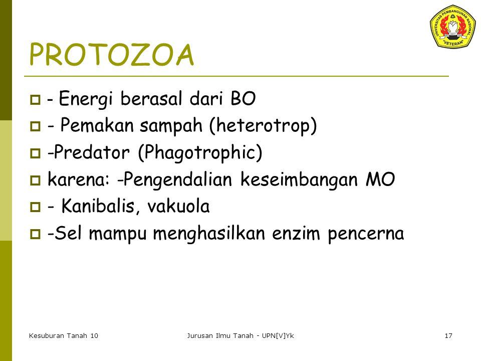 Kesuburan Tanah 10Jurusan Ilmu Tanah - UPN[V]Yk17 PROTOZOA  - Energi berasal dari BO  - Pemakan sampah (heterotrop)  -Predator (Phagotrophic)  karena: -Pengendalian keseimbangan MO  - Kanibalis, vakuola  -Sel mampu menghasilkan enzim pencerna