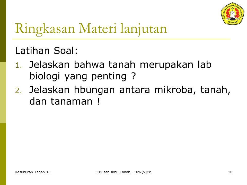 Kesuburan Tanah 10Jurusan Ilmu Tanah - UPN[V]Yk20 Ringkasan Materi lanjutan Latihan Soal: 1.