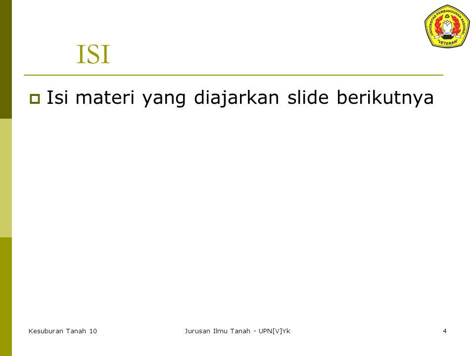 Kesuburan Tanah 10Jurusan Ilmu Tanah - UPN[V]Yk4 ISI  Isi materi yang diajarkan slide berikutnya