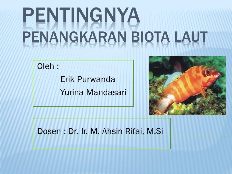 Oleh : Erik Purwanda Yurina Mandasari Dosen : Dr. Ir. M. Ahsin Rifai, M.Si