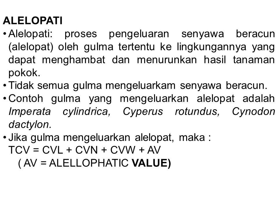 ALELOPATI Alelopati: proses pengeluaran senyawa beracun (alelopat) oleh gulma tertentu ke lingkungannya yang dapat menghambat dan menurunkan hasil tan
