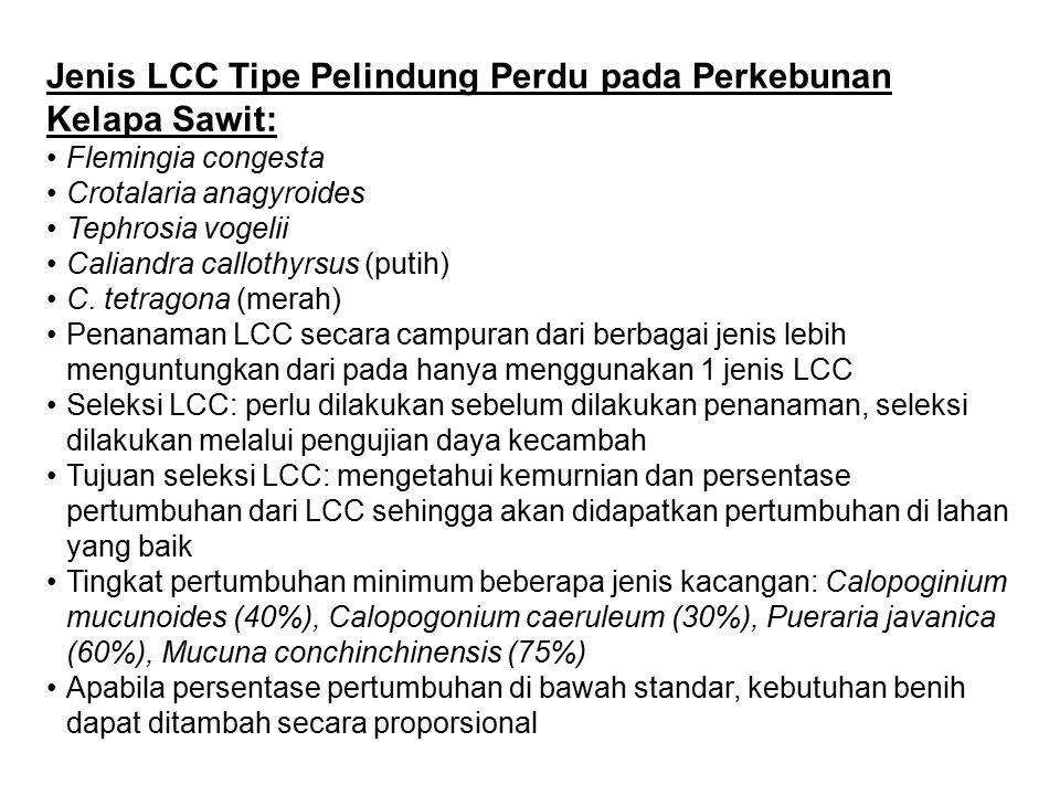 Jenis LCC Tipe Pelindung Perdu pada Perkebunan Kelapa Sawit: Flemingia congesta Crotalaria anagyroides Tephrosia vogelii Caliandra callothyrsus (putih