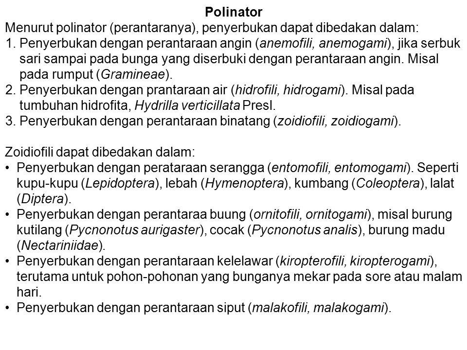 Polinator Menurut polinator (perantaranya), penyerbukan dapat dibedakan dalam: 1.Penyerbukan dengan perantaraan angin (anemofili, anemogami), jika ser