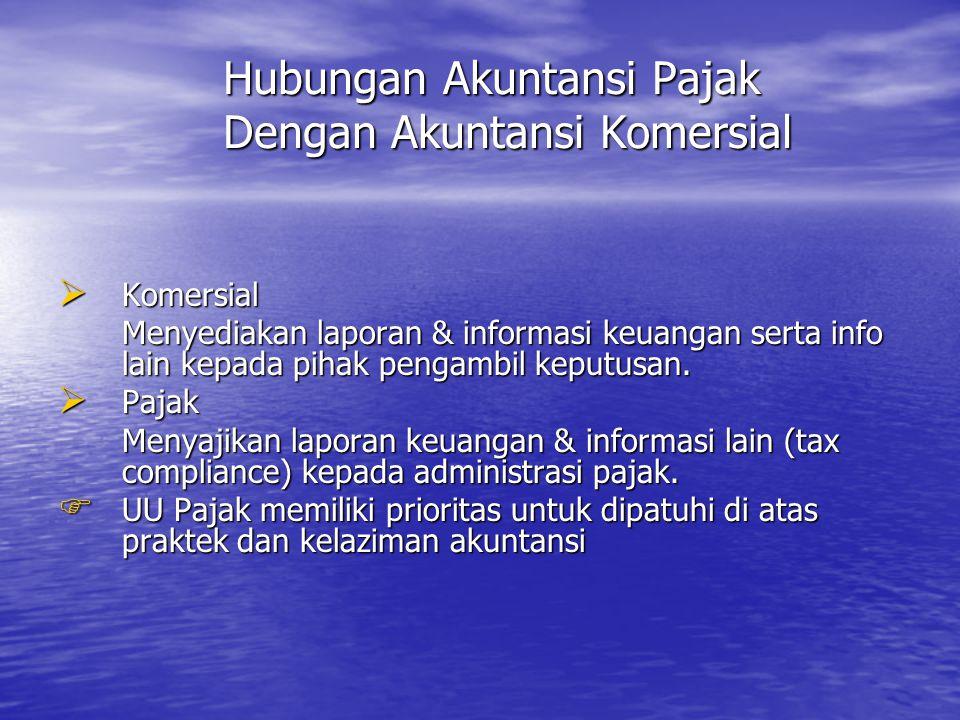 Hubungan Akuntansi Pajak Dengan Akuntansi Komersial Hubungan Akuntansi Pajak Dengan Akuntansi Komersial  Komersial Menyediakan laporan & informasi ke