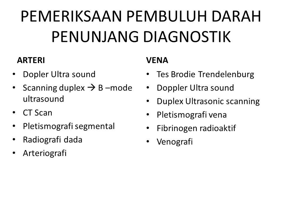 PEMERIKSAAN PEMBULUH DARAH PENUNJANG DIAGNOSTIK ARTERI Dopler Ultra sound Scanning duplex  B –mode ultrasound CT Scan Pletismografi segmental Radiogr