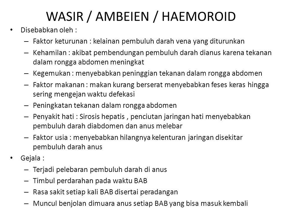WASIR / AMBEIEN / HAEMOROID Disebabkan oleh : – Faktor keturunan : kelainan pembuluh darah vena yang diturunkan – Kehamilan : akibat pembendungan pemb