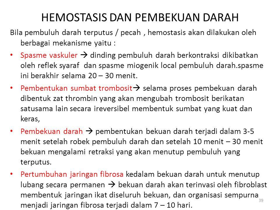 HEMOSTASIS DAN PEMBEKUAN DARAH Bila pembuluh darah terputus / pecah, hemostasis akan dilakukan oleh berbagai mekanisme yaitu : Spasme vaskuler  dindi