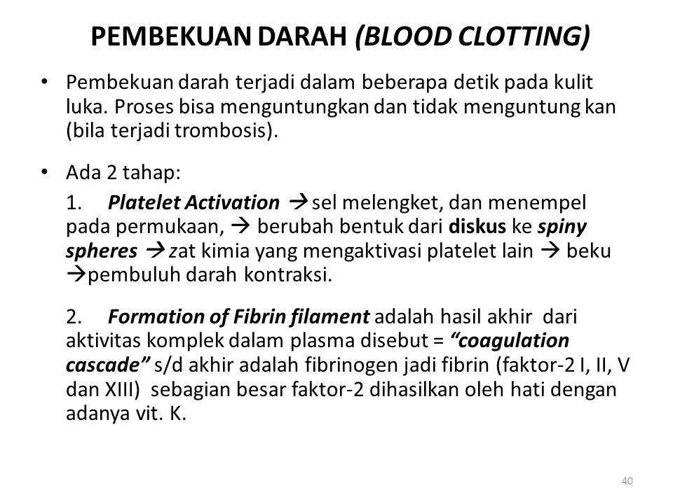 40 PEMBEKUAN DARAH (BLOOD CLOTTING) Pembekuan darah terjadi dalam beberapa detik pada kulit luka. Proses bisa menguntungkan dan tidak menguntung kan (