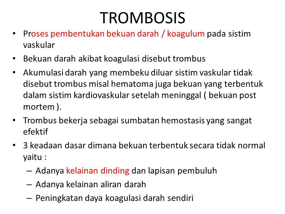 TROMBOSIS Proses pembentukan bekuan darah / koagulum pada sistim vaskular Bekuan darah akibat koagulasi disebut trombus Akumulasi darah yang membeku d