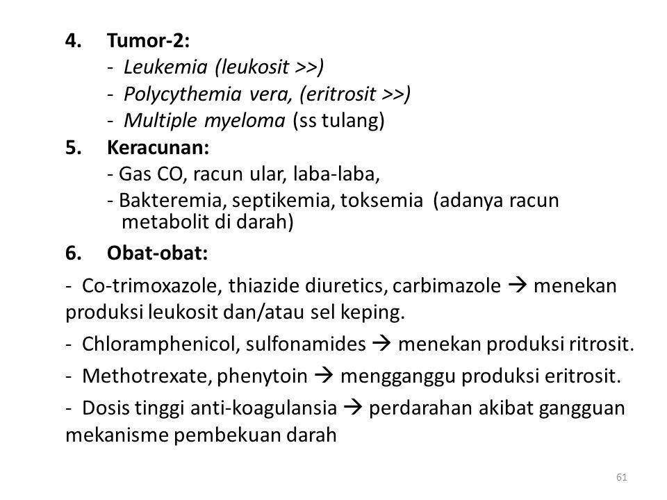 61 4.Tumor-2: - Leukemia (leukosit >>) - Polycythemia vera, (eritrosit >>) - Multiple myeloma (ss tulang) 5.Keracunan: - Gas CO, racun ular, laba-laba