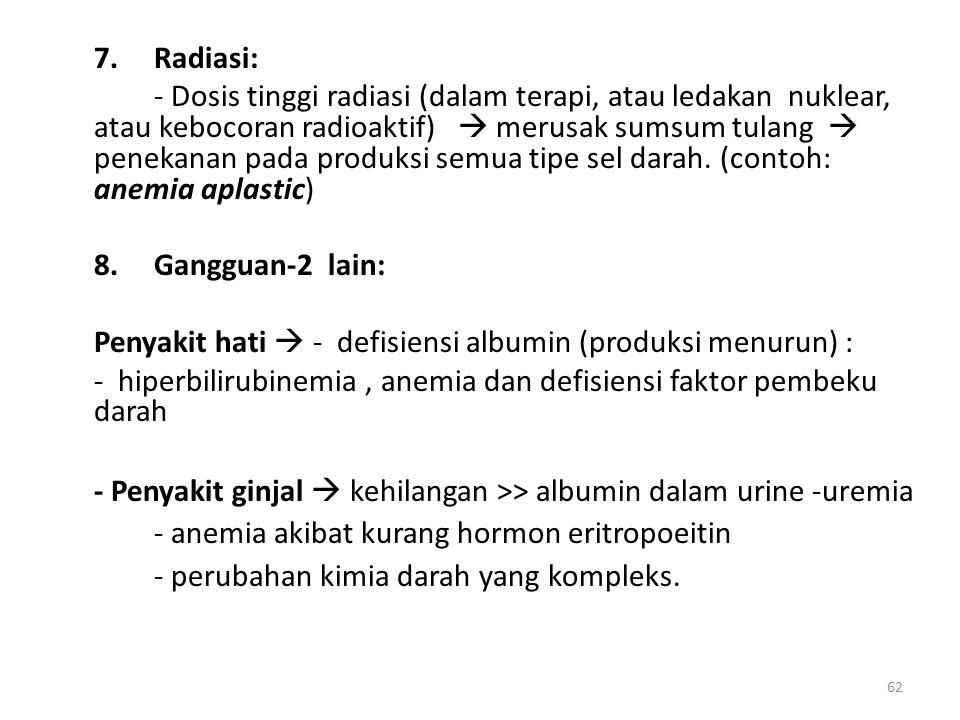 62 7.Radiasi: - Dosis tinggi radiasi (dalam terapi, atau ledakan nuklear, atau kebocoran radioaktif)  merusak sumsum tulang  penekanan pada produksi