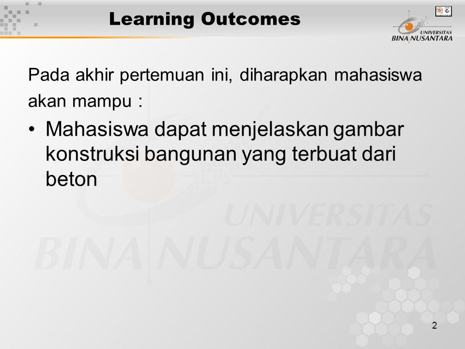 2 Learning Outcomes Pada akhir pertemuan ini, diharapkan mahasiswa akan mampu : Mahasiswa dapat menjelaskan gambar konstruksi bangunan yang terbuat da