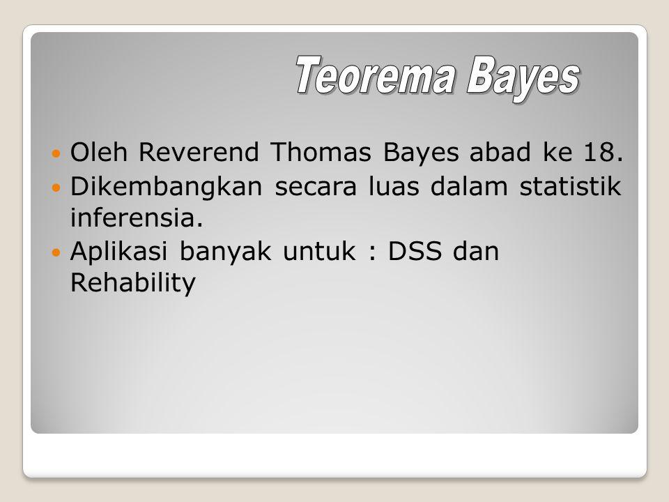 Oleh Reverend Thomas Bayes abad ke 18. Dikembangkan secara luas dalam statistik inferensia. Aplikasi banyak untuk : DSS dan Rehability