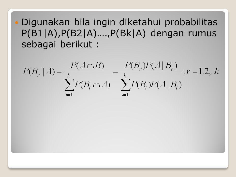 Digunakan bila ingin diketahui probabilitas P(B1|A),P(B2|A)….,P(Bk|A) dengan rumus sebagai berikut :