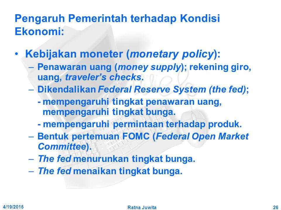 4/19/2015 Ratna Juwita26 Pengaruh Pemerintah terhadap Kondisi Ekonomi: Kebijakan moneter (monetary policy): –Penawaran uang (money supply); rekening giro, uang, traveler's checks.